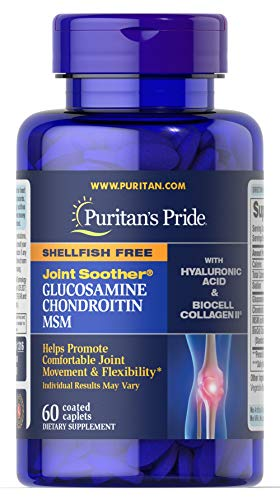 Puritan's Pride Joint Soother Glucosamine, Chondroitin & MSM with Hyaluronic Acid & Collagen-60 Caplets ()
