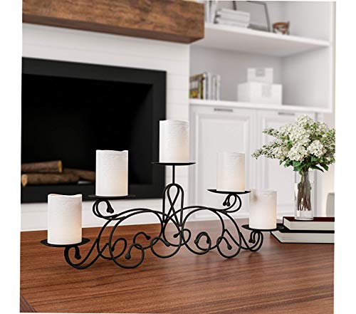 Premium 5 Candelabra with Classic Scroll Design-Handcrafted Iron Candle Holder/Centerpiece for Home Decor, Wedding, Event (Matte Black)