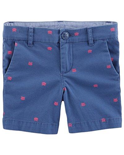 Osh Kosh Girls' Toddler Skimmer Short, Navy Schiffli, 5T
