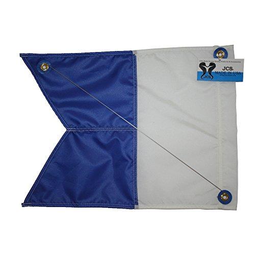 (JCS Nylon Alpha Flag with Brass Grommets & Steel Spring Wire Stiffener, 14inch x)