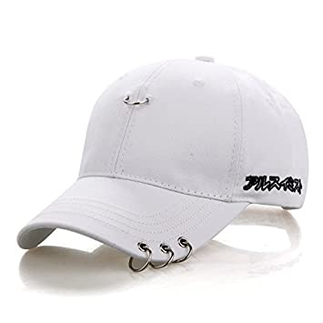 SLGJ Adulto de Color Negro sólido Casual BTS Ajustable Anillo de Hierro de Gorras Snapback Cap Casquette Sombreros Sombreros Gorras Casual montado papá: ...