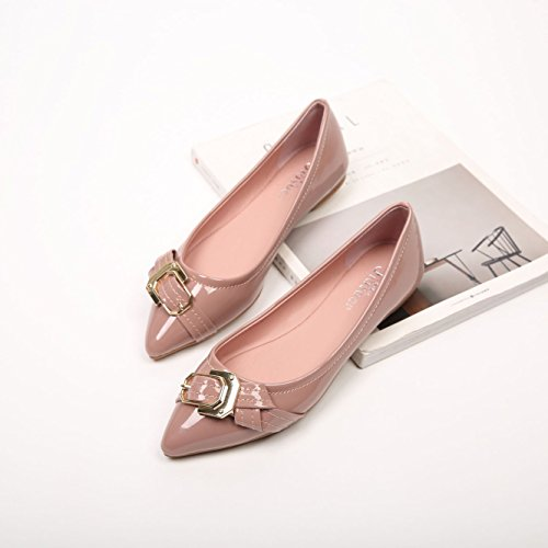 Women's thin sweet Pink shoes flat pointed buckle square metal shoes TT84Px