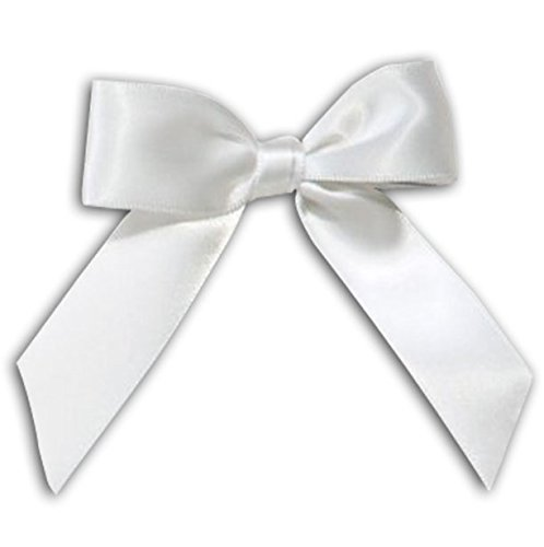 (Satin Bow - Peel and Stick - Assorted Colors - Grad Cap Accessory, Grad Cap (White))