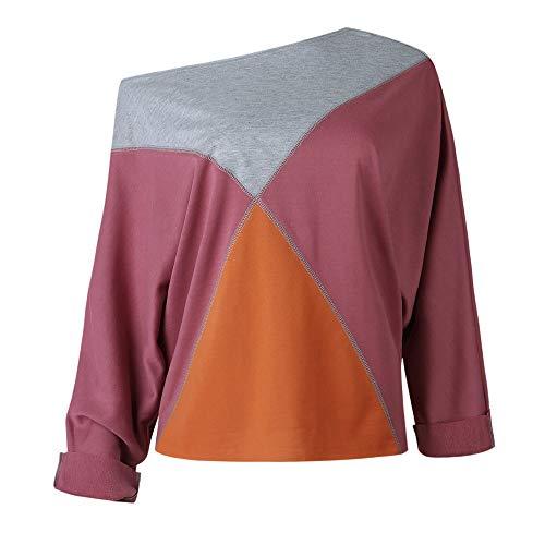 Shirt sans Femmes Patchwork T Bretelles Chic Chemisier des Longues Manches Violet avec Fathoit Femme en WO0Iwq