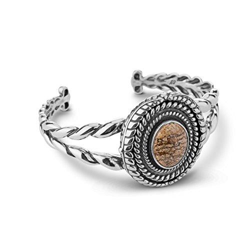 American West Genuine .925 Sterling Silver Picture Jasper Interchangeable Cuff Bracelet by American West