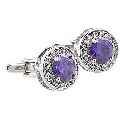 Silver Round Zircon Crystal Cufflinks 2PC Men's High-end Shirt Decoration Gift Diamond Metal Cufflinks