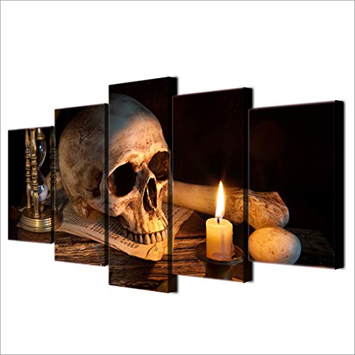 NATVVA 5 Piece Canvas Art Scary Skull Burning Candle HD Printed Wall Art Home Decor Canvas Painting Picture Halloween Wall Decoration -