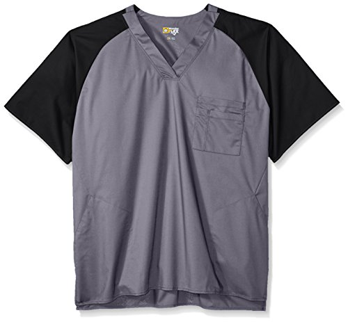 (WonderWink Wonderflex Men's Big Anchor Color Block Top, Pewter, 2X-Large)