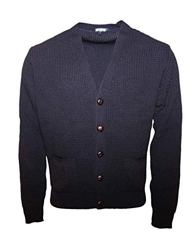 Relco Mens Navy Waffle Knit Cardigan with Football Buttons  Amazon.co.uk   Clothing ac73ec032