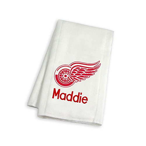Designs by Chad and Jake Baby Personalized Detroit Red Wings Burp Cloth One Size White