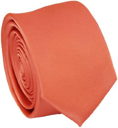 Solid Coral Slim Tie . 2.25' inch wide
