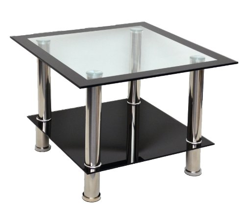 Mesa Auxiliar de Cristal, Mesa Cuadrada, Mesa para sofa en Acero Inoxidable, Vidrio Templado de 8 mm, Color Negro