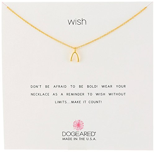 "Dogeared Reminders- ""Wish"" Gold Dipped Sterling Silver  Wishbone Charm Necklace, 16″ W/2″ Extender"