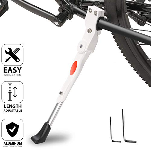 """TRADERPLUS Alloy Adjustable Height Bike Kickstand Non-Slip Bicycle Stand for 22"""" - 26"""" for Mountain/Road/BMX/MTB Bike (White)"""