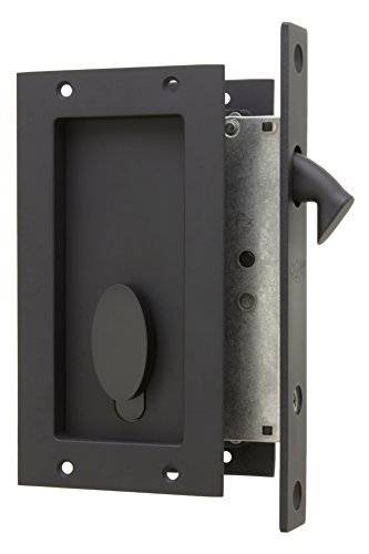 Flush Door Entry (Anacapa by FPL- Solid Brass Modern Pocket Door Mortise Lock Set with Single Keyed Euro Profile Cylinder - Oil Rubbed Bronze)
