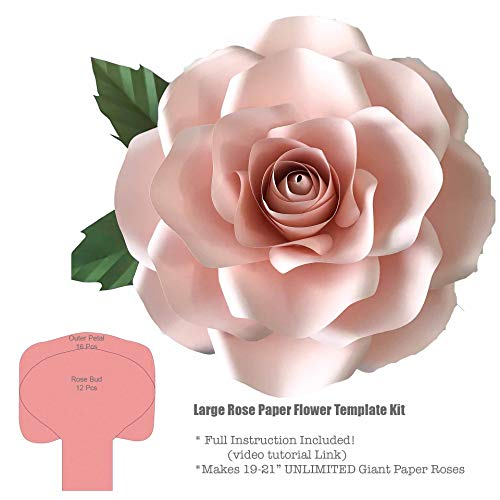 "Giant Large Rose 19-21"" Paper Flower Template/Stencils Kit"