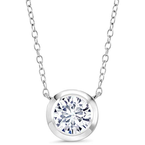 (925 Sterling Silver Pendant Timeless Brilliant (KLM) Round 1.35ct (DEW) Created Moissanite )