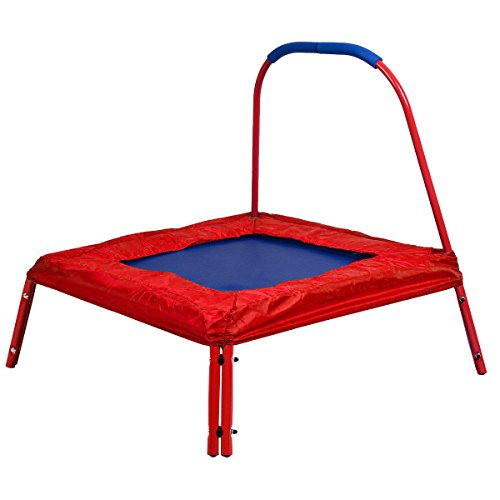 Red Square Jumping Trampoline 3' X 3' Ft Kids w/ Handle Bar and Safety Pad by us