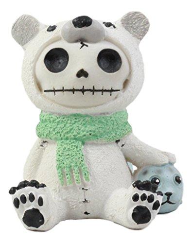 Ebros Furry Bones Arctic Polar Bear Chilton with Baby Seal Costume Skeleton Monster Collectible Figurine 2.75
