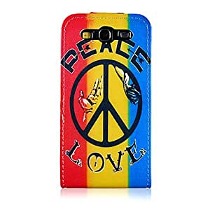 DUR Colorful Ground Peace Badge Pattern PU Leather Full Body Case for Samsung Galaxy S3 I9300