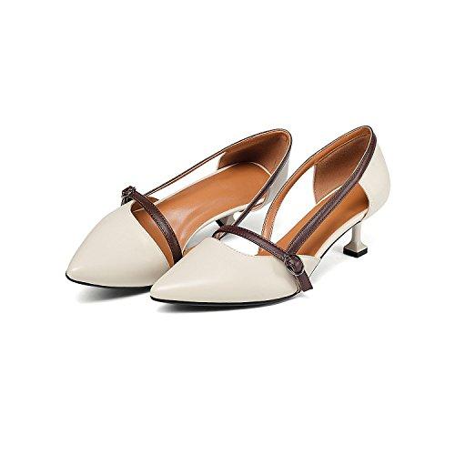 tacchi cat 7cm Moda alti 37 wild AJUNR crema Punta di scarpe Sandali la Donna Alla unico Da con 6n1ZSqv
