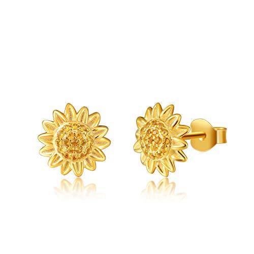 BEILIN 925 Sterling Silver You are My Sunshine Sunflower Pendant Necklace Earrings Bracelet Jewelry for Women Girls ()