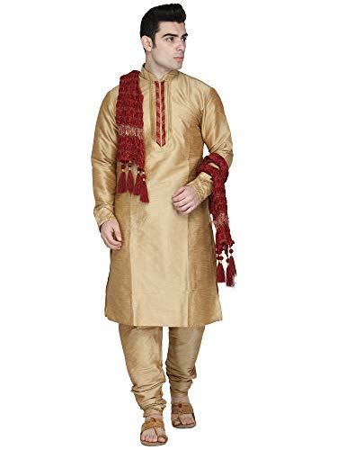 (Indian Kurta Pajama Stole 3- Pieces Set Long Sleeve Hook & Eye Traditional Wedding Dress Salwar Kameez Pyjama -L Brown)