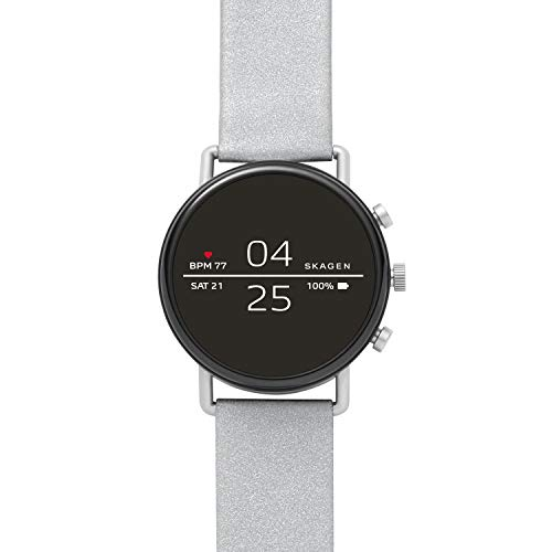 Skagen Connected Falster 2 Stainless Steel with Reflective Leather Strap Touchscreen Smart Watch, Color: Silver-Tone: (Model: SKT5106)
