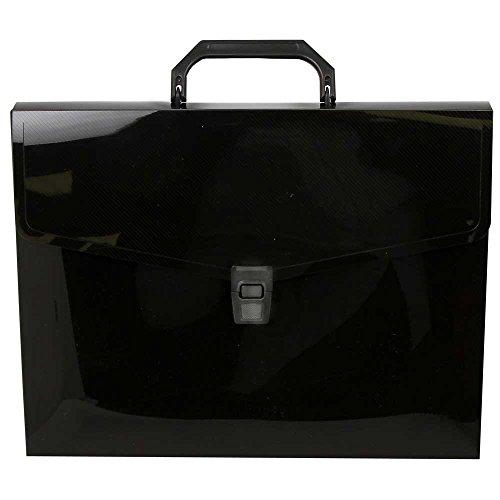 JAM PAPER Plastic Business Portfolio Briefcase with Handles -10 x 13 x 1 1/2 - Black - Sold Individually (Art Portfolio Briefcase)
