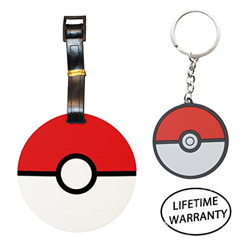 DIYJewelryDepot Pokemon Go Luggage Travel Tags for Bags + Japanese Anime Keychains (Pokeball) (Ranger Adult Accessory Kit)