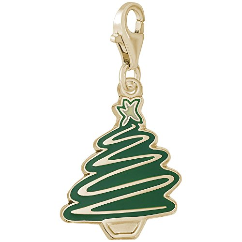 14k Gold Christmas Tree Charm - 14k Yellow Gold Christmas Tree Charm With Lobster Claw Clasp, Charms for Bracelets and Necklaces