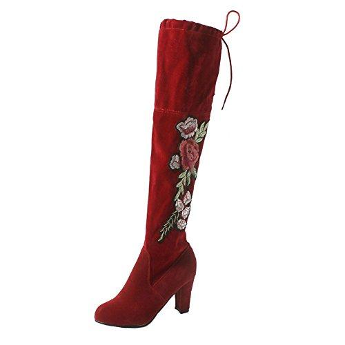 Flowal Pour Les Les Chaussures Chaud À Rouges À Dentelle Bottes Brodé Bloquent Des Mince Des La Junkai Femmes Démarrage Chaussures À Long Talons Sur Automne Dames Hiver Glisser Femmes gSxrq4Sw0
