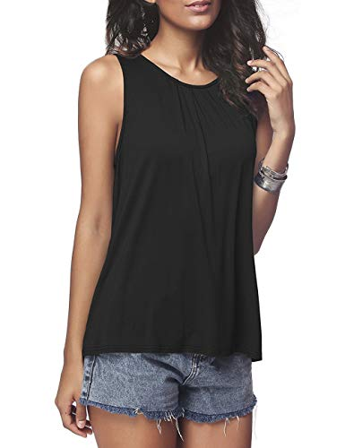 (Women's Sleeveless Tank Tops Summer Pleated Back Closure Casual Crewneck T-Shirt Black S)