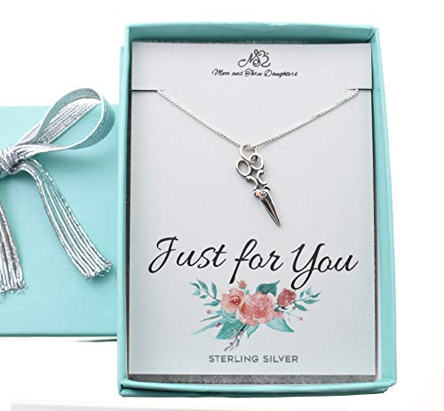 """Scissors necklace in sterling silver on an 18"""" sterling silver Box chain + 2"""" extender. Gift for hairdresser. Gift for seamstress. Origami Artist."""