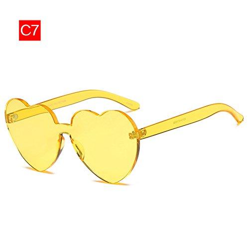 transparente tinte mujer sol Amarillo Vintage Gafas corazón de gafas claro sol Gafas amor de bastidor sin reborde OEvHC