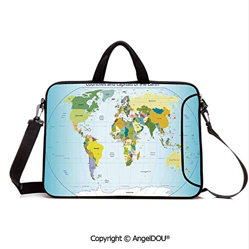 AngelDOU Neoprene Laptop Shoulder Bag Case Sleeve with Handle and Extra Pocket World Map with Countries and Capital Cities of The Earth with Oceans and Lakes G Compatible with MacBook/Ultrabook/HP/A ()