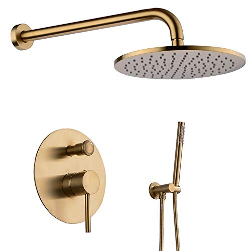 TRUSTMI 10 inch Round Bathroom Luxury Rain Mixer Combo Set Wall Mounted Rainfall Shower Head System Brushed Gold, (Contain Faucet Rough-in Valve Body and Trim)