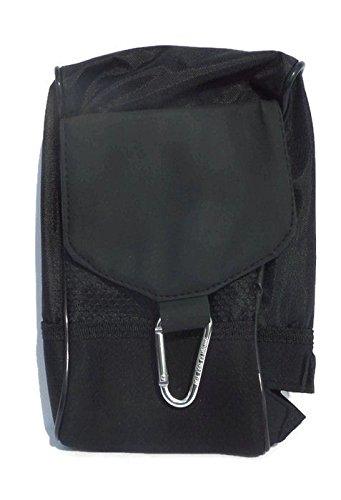 Neoprene Golf Caddy - Large Black Nylon/Neoprene Golf Ball Caddy Organizer Bag w/ Carabiner