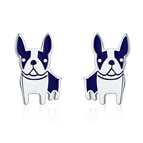 WOSTU Lovely Bulldog Stud Earrings Sterling Silver Animal Dog Earrings for Girls Birthday Gifts (Ring Silver Bulldog Sterling)