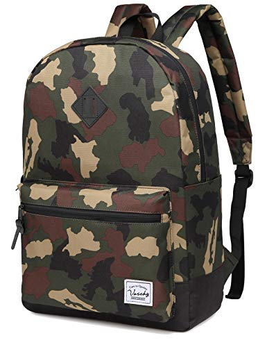 Backpack for Men, Vaschy Water Resistant Lightweight Unisex School Rucksack for College fits 15inch laptop Camouflage
