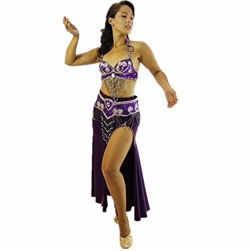 Danzcue Womens Egyptian Style 3-Piece Belly Dance Costume (Medium 36C/D, Purple)