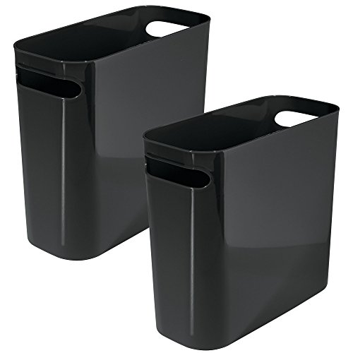"mDesign Slim Plastic Rectangular Small Trash Can Wastebasket, Garbage Container Bin with Handles for Bathroom, Kitchen, Home Office, Dorm, Kids Room - 10"" high, Shatter-Resistant, 2 Pack - Black"