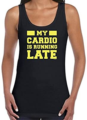 My Cardio is Running Late Gym Funny Workout Juniors Tank Top