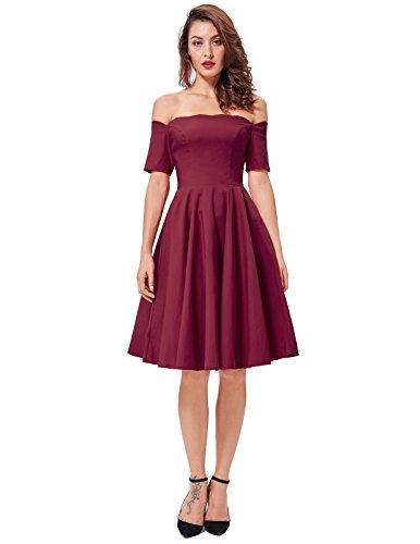 Party Wine PAUL Dress Women's JONES Red Poque Swing Dress Off Picnic Shoulder Belle 84S8KwqR