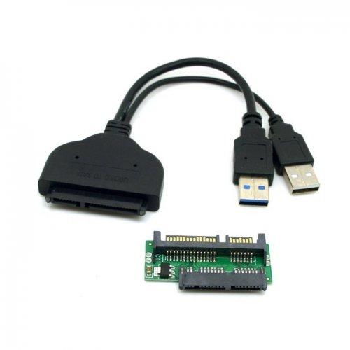 Cablecc 1set USB 3.0 to SATA 22Pin & SATA to Micro SATA Adapter for 1.8
