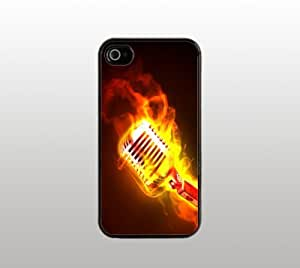 Microphone on Fire Snap-On Case for iPhone Apple 4 4s - Hard Plastic - Black - Cool Custom Cover - Music