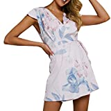 Womens Boho Floral V Neck Lace-up Ladies Beach Summer Holiday Dress Sundress (White, L)