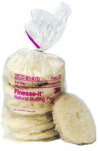 - 3M Finesse-it Natural Buffing Pad 81470, Hook and Loop, 3-inches Diameter, White (Pack of 50)