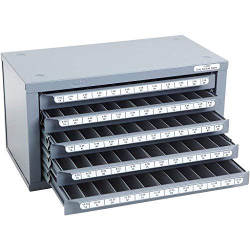 Huot 13550 Five-Drawer Tap Dispenser Cabinet for Machine Screw Sizes #2-56 to #12-28 (Drill Tap Index)