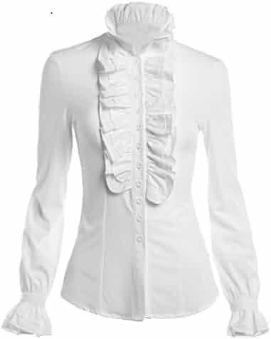 14a82e42c6e4a Mosocow Women s Vintage Victorian Ruffle Long Sleeve Shirt Blouse Tops